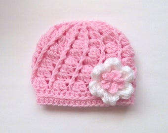 Newborn Baby Hat _ Crochet Baby Girl Beanie _ NewBorn Baby Girl Hospital Hat _ Photo Props Baby Hat