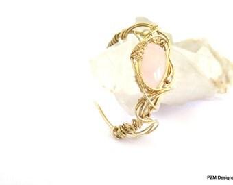 Rose Quartz Cuff, Artisan Wire Wrapped Gold Cuff, New Age Jewelry