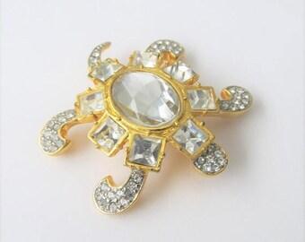 40% OFF SALE Vintage Valentino Garavani Swarovski Turtle Brooch Pin / Rare Style 1980's Italian Designer Crystal Jewelry Pin