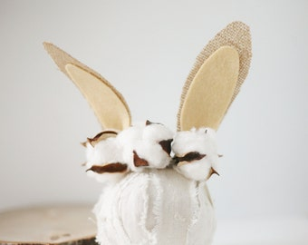 Cottontail cotton buds baby boy springtime newborn bunny easter woodland ears crown halo floral headband prop