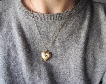 Vintage Heart Locket With Diamond Chip c.1940s