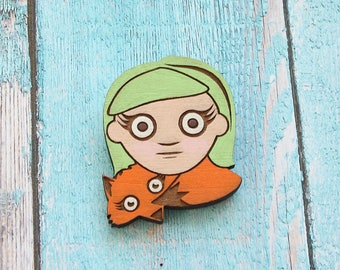 Girl and Fox Hand Painted Lasercut Wood Pin
