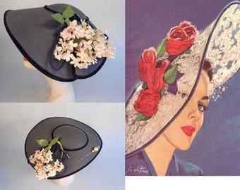Mid Summer Wedding - Vintage 1950s Navy Faux Straw Platter Dish Wide Brim Hat w/Floral Side & Hat Pin