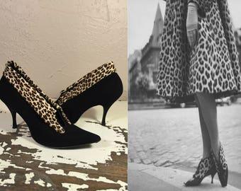 Purrrfectly Acceptable - Vintage 1950s Black Nubuck Leather Ankle Bootie Heels Stilettos w/Leopard Print Fur Trim - 8.5M