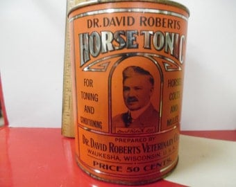 horse tonic tin, Dr. Roberts tin, vintage veterinary tin, old vet tin, Dr. Roberts horse tonic