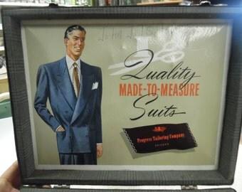 Vintage salesman sample suitcase,  Progress Tailoring co., door to door sales