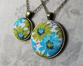 Retro Necklace, Blue Green Jewelry, Boho Jewelry, Hippie, Small Or Large Pendant, Mod Necklace, Floral Fabric Jewelry, Cotton Necklace