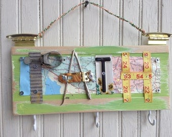 Handmade Salvaged Hardware Path Sign//gift for traveler//wall decor