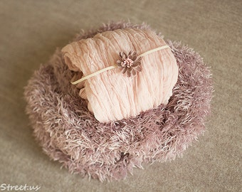 Basket Stuffer Headband and Blush Cheesecloth Set, Nest, Mauve Cocoon, Baby Props, Newborn Props, Basket Filler, RTS , Dusty Pink Faux Fur