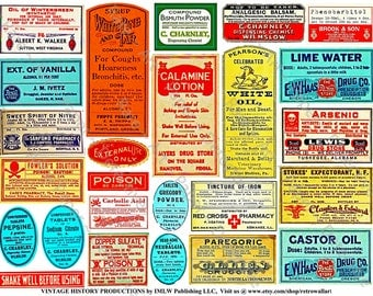 Medicine Bottle Labels - Digital Pharmacy Clip Art, Antique Druggist Labels, Apothecary Bottles, Bathroom DIY Decor, Pill Bottle Labels 69c