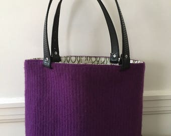 Purple Ribbed Felted Wool Tote