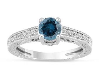 ON SALE Platinum Fancy Blue Diamond Engagement Ring Vintage Unique Antique Style Engraved 1.20 Carat Certified HandMade