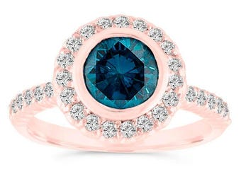 ON SALE Bezel Set Blue Diamond Engagement Ring, 14K Rose Gold Wedding Ring 1.30 Carat Halo Pave Certified Handmade