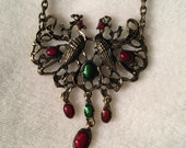 Love Bird Double Peacock Necklace with Burgundy and Green Details