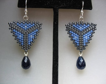 Blue Black Peyote Stitch and Faceted Blue Black Gemstone Drop Earrings on Sterling Silver French Wire
