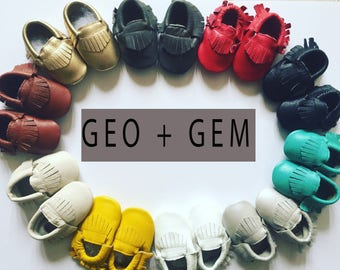 Sale - Pick your Color and Size Baby Moccasins Baby Moccs Moccs Moccasin Shoes Baby Shoes Soft Soled Shoes Crib Shoes Moccasins