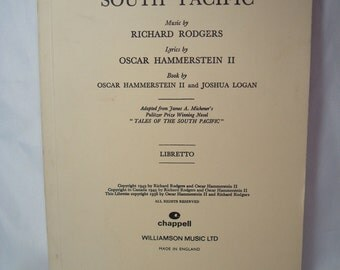 1956 Rodgers and Hammersteins South Pacific Book.
