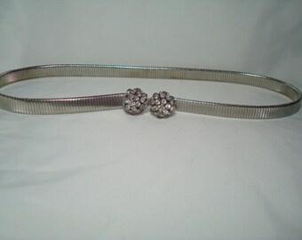 Vintage Silver Metal stretchy Belt with Jeweled Rhinestone Buckle.