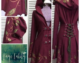Special listing for shannon Handpainted leaf OOAK corset laced pagan clothing steampunk fairy pixie hoodie in Merlot color