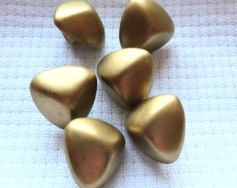 Vintage Metallic Gold Buttons, Nuggets, Triangles, Plastic Buttons with shanks,  14mm, 1960's Craft Buttons, Button Jewelry, 6 in lot
