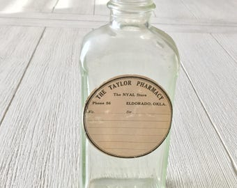 Vintage Medicine Bottle Taylor Pharmacy Label