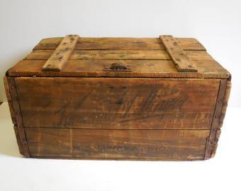 Vintage Wood Crate Kamm Schellinger Beer w/ lid & dividers Primitive Rustic storage box advertising box Mishawaka IN