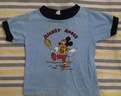 1970s Mickey Mouse football tee - blue & navy ringer t-shirt, cotton, toddler, childrens unisex size 12