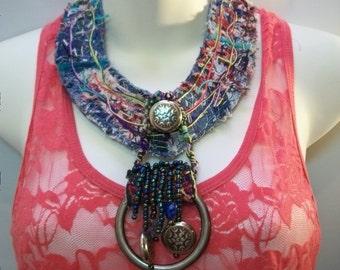 Handmade Quilted Denim Necklace, Handmade Jewlery, Fabric Jewelry, Mix Media Blue Jean Necklace, Statment Necklace, Fiber Bohemian jewelry