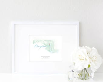 Maryland Watercolor Map | Destination Map Print | Personalized Watercolor Map | Honeymoon Map | Anniversary Map | Watercolor Wedding Map