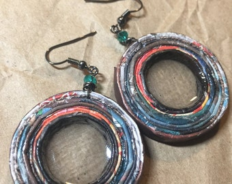 """n. 71 Earth Tones w/ RED open coil with resin recycled paper pierced earrings w/ GLASS beads measure 1.5"""""""