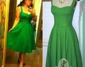 1950s Rockabilly Pinup- 'Suddenly Summer' Linen- Wedding 50s Short Bridal Dress Custom Made
