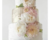 Custom Order - 3 tiered cake decoration to fit fake cake with cream peonies and light pink/blush dahlias and mums