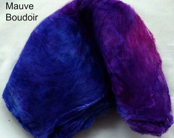 "Hand Dyed Silk Hankies 0.5 Oz./ 14Grams ""Mauve Boudoir"""