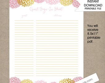 Pink Gold Dahlias Guest List, baby shower guest list, bridal shower guest list, sign in sheet, instant download, digital file, pink floral