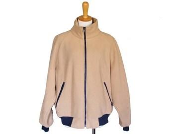 60% off sale // Vintage 80s Tan LL BEAN Fleece Jacket - Men XL