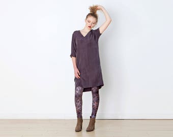 V-neck Tunic Dress |  Oversized Heather Grey Dress with Pockets | Drapey Minimalist Sack Dress | Heather Grey Grey Ashy Grey