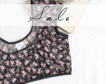 Sheer Black Floral Lace Crop Top Sample SALE