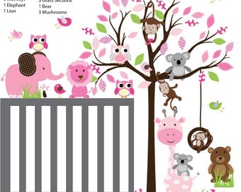 Kids Decals Kids Wall Decals Tree Animal Sticker Baby Nursery Decal