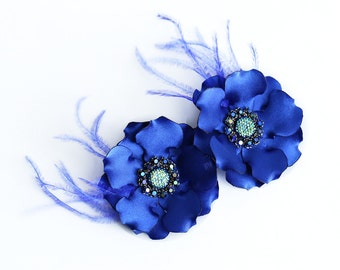 Set of Two Royal Blue Flower Hair Clips Blue Flowers Royal Blue Head Piece Bridesmaids Accessory Prom Flowers