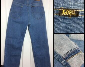 1960s Lee Riders 101-Z light wash blue selvedge denim boyfriend jeans 28x29, Talon zipper leather patch #309