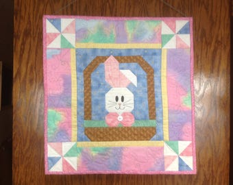 Bunny in a Basket 20 inch quilted wall hanging for Easter