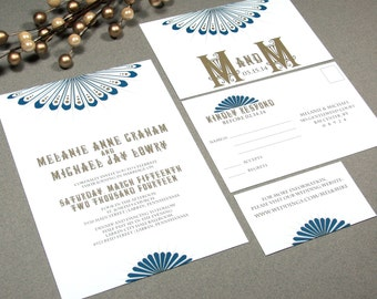 Art Deco Roaring Twenties Sunburst Wedding Invitation Set by RunkPock Designs shown in Royal Navy Cobolt Blue and Dark Gold