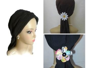 "Black Gauze Scarf Turban Volumizer Chemo Headwear 15"" Ties, Cancer Patient Hat, Hair Covering,Tichel Mitpachat Head Wrap, Beach Head Wear"