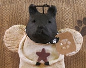 Black French Bulldog Angel, OOAK,hand-sculpted from papier mache, FRENCH BULLDOG