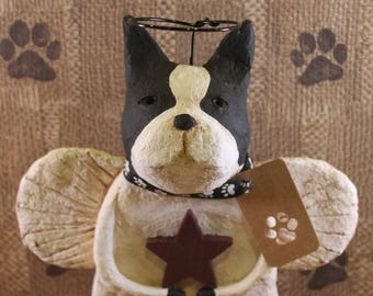 Boston Terrier Angel,OOAK, Handmade Paper Mache, Dog Angel Statue,