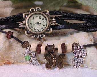 Black Leather and Cord Wrap Watch - Butterfly,Filigree Leaf, Silver Owl - Garden watch, Ornate Bronze Case