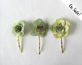Three gold and green blue hand painted silk bobby pins - little golden flowers - wedding hair pins **Item on sale*** Previous price : 25 EUR