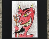 Red Devil - ink and watercolor painting