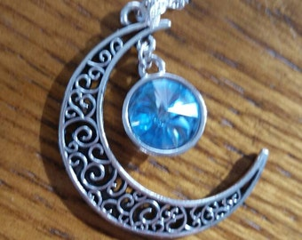 Aqua Swarovski Crystal Amulet of the Moon