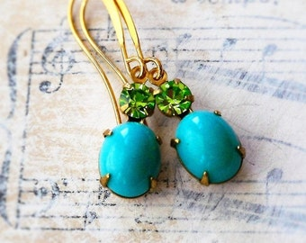 On Sale Peacock Array , Vintage Peridot Green Swarovski crystal and Turquoise Blue Oval Glass Estate Style Jewel in Golden Setting Earrings